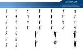 Business people silhouettes with different pose. Illustration of business people silhouettes Stock Photography