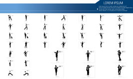 Business people silhouettes with different pose. Illustration of business people silhouettes Stock Photos