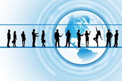 Business people silhouettes. Silhouettes of business people in different postures on abstract background with earth. Elements of this image furnished by NASA Stock Images