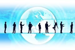 Business people silhouettes and Earth. Silhouettes of business people in different postures on abstract blue background with earth. Elements of this image Royalty Free Stock Image