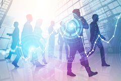 Business people silhouettes, hud and graphs royalty free illustration