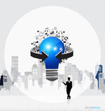 Business people silhouettes and light bulb as inspiration concep. T with drawing chart and graphs business strategy plan concept idea (building background) Stock Images