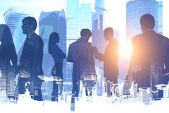 Business people silhouettes, Moscow city royalty free illustration