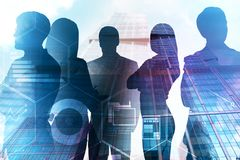 Business team silhouettes in city, infographics royalty free illustration