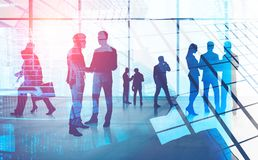 Business people silhouettes in panoramic office stock image