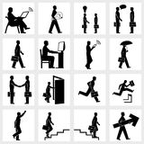 Business people silhouettes. Set of icons of Business people silhouettes Stock Photos