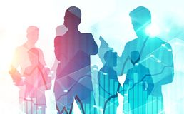 Business people silhouettes, stock market graphs stock photography