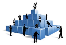 Business People Silhouettes Team Building Blocks royalty free illustration