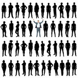 Business people silhouettes, unique concept. Vector business silhouette, white background Stock Images