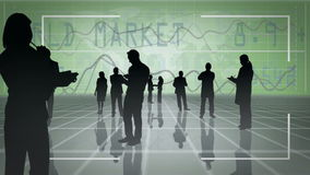 Business people silhouettes with video spaces royalty free illustration