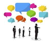 Business People Silhouettes Waiting Speech Bubbles Stock Photo