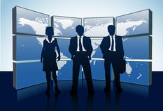 Business people silhouettes world map monitors Stock Images