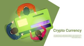 Business People Sit At Credit Card Bitcoin Top Angle View Crypto Currency Concept. Flat Vector Illustration royalty free illustration