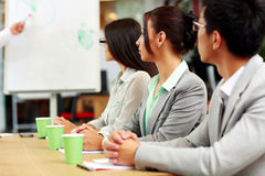 Business people sitting around a table during a meeting Royalty Free Stock Photo