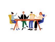 Business People Sitting at Desk and Discussing Project, Brainstorming, Colleagues Working Together in Office. Communication Between Coworkers Vector vector illustration