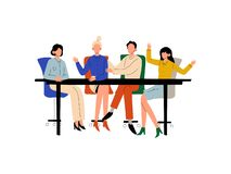 Business People Sitting at Desk and Discussing Project, Brainstorming, Teamwork, Colleagues Working Together in Office. Communication Between Coworkers Vector royalty free illustration