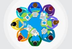 Business People Sitting Desk Globe. Top View Global International Collaboration Flat Vector Illustration stock illustration