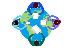 Business People Sitting Desk Globe. Top View Global International Collaboration Flat Vector Illustration royalty free illustration