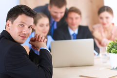 Business people sitting and discussing at business Royalty Free Stock Photos