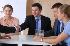 Business people sitting and discussing at business meeting Royalty Free Stock Image