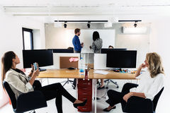Business people sitting in office and learning new technologies Stock Image