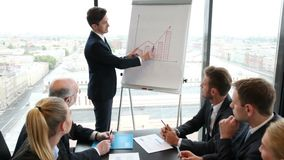 Business people on presentation. Business people sitting on presentation at office. Businessman presenting on whiteboard stock footage