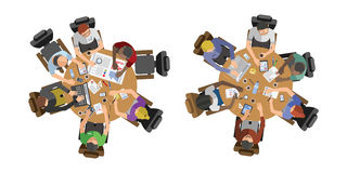 Business people sitting on table vector illustration. Busy business people sitting on table vector illustration. Office life working in space top view Royalty Free Stock Images