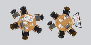 Business people sitting on table vector illustration. Busy business people sitting on table vector illustration. Office life working in space top view Stock Photos
