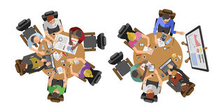 Business people sitting on table vector illustration. Busy business people sitting on table vector illustration. Office life working in space top view Royalty Free Stock Photography
