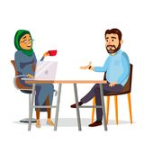 Business People Sitting At The Table Vector. Modern Office. Laughing Friends, Office Colleagues Bearded Man And Muslim. Woman Talking To Each Other. Isolated vector illustration