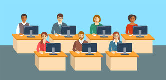 Business people sitting at tables in an office royalty free illustration