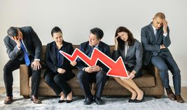 Business people sitting together with statistics icon Royalty Free Stock Photography
