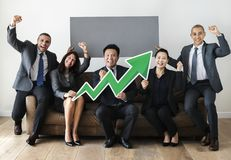 Business people sitting together with statistics icon Royalty Free Stock Image
