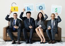 Business people sitting together with statistics icon Stock Images