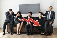 Business people sitting together with statistics icon Stock Photo