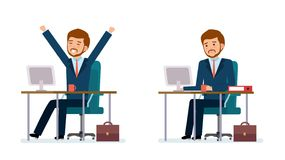 Business people and situations. Business man in a suit working on a computer. Business man stretching and yawning. Flat style color modern vector illustration Stock Photography