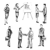 Business people sketch set Royalty Free Stock Photography