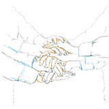Business people sketch team pile of hands Royalty Free Stock Images