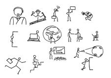 Business people sketches. In B/W Royalty Free Stock Photo