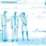 Business people. Sketchy, hand drawn business people over an abstract background Royalty Free Stock Photos