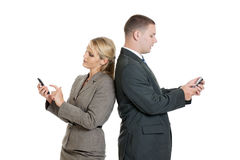 Business people with smartphones Royalty Free Stock Photos