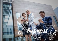 Business people smiling and using devices with white business doodles Royalty Free Stock Photography