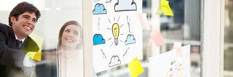 Business people smiling with window and sticky notes transition stock photos