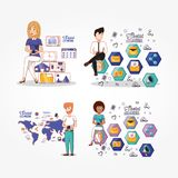 Business people with social media icons. Vector illustration design Royalty Free Stock Photo