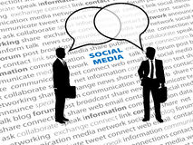 Business people social network text talk bubbles. Two business people connect in social media network talk bubbles on a text page background Stock Image