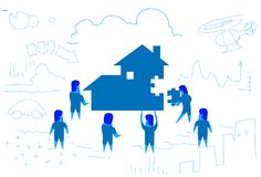 Business people solving puzzle making house building home kit concept teamwork working process horizontal sketch doodle Royalty Free Illustration