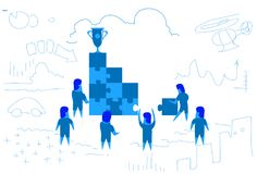 Business people solving puzzle stairs top win cup trophy first place concept teamwork brainstorming winner success Vector Illustration