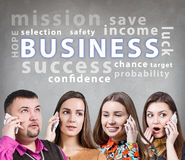 Business people speak on the phone Royalty Free Stock Photos