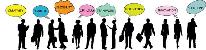 Business people with speech bubbles Royalty Free Stock Photo