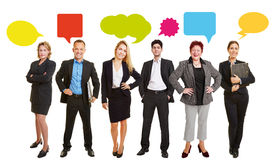 Business people with speech bubbles stock photos